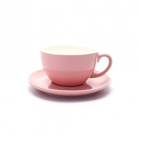 Coffeezone Barista Speciality Coffee Cup and Saucer, Small Cappuccino or Double Espresso Ceramic Cups (Glossy Pink, 5 oz)