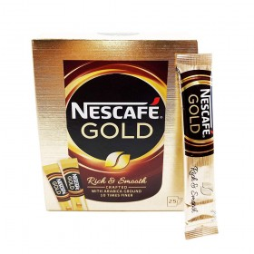 NESCAFE Gold Rich & Smooth Taste Crafted With Arabica Ground Coffee Beans 10 Times Finer Instant Coffee Beverages Stickes To A Perfect Day Start (1 Box (25 Sticks))