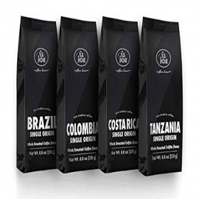 Single Origin Whole Bean Coffee Variety Pack - Costa Rica, Brazil, Colombia and Tanzania Roasted Coffee Beans from Cafe Joe USA, Four 250g (8.8 Oz) Bags - Light and Dark Roast