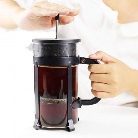 DAMITA French Press Coffee Maker French Press 304 Grade Stainless Steel 8 cup 34 oz Coffee Press and Tea Press Designed with Heat Resistant Borosilicate Glass Perfect Gifts For Coffee and Tea lovers